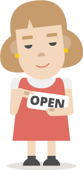 Illustration of woman holding open sign